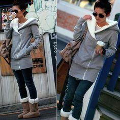 New Fashion Winter Korean Womens Clothes Long Sleeve Hoodie Jacket Coat Warm Cardigan Sweatshirts Outerwear Free Shipping 0064 $16.88