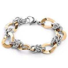 West Coast Jewelry Rose Gold Plated Two-tone Stainless Steel Oval Chain Link Bracelet, Women's, Size: 8 Inch Bracelets With Meaning, Bracelets For Men, Link Bracelets, Beaded Bracelets, Rose Jewelry, Chain Jewelry, Jewellery, Gold Plated Bracelets, Bangles