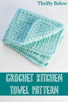 Crochet Kitchen Towel Pattern :: Thrifty Below Crochet Dish Towels, Crochet Kitchen Towels, Crochet Potholders, Crochet Gifts, Free Crochet, Knit Crochet, Cotton Crochet, Crochet Granny, Linen Stitch