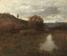 Alexander Helwig Wyant, American Tonalist, Autumn Landscape and Pool, oil on canvas, 19 7/8 x 24