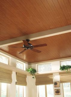 Interior Inspirations: How to Get Rid of a 'Popcorn' Ceiling...wood laminate for ceiling - sunroom