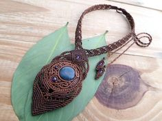 FREE SHIPPING Moss Agate macrame necklacepolymer by SelinofosArt