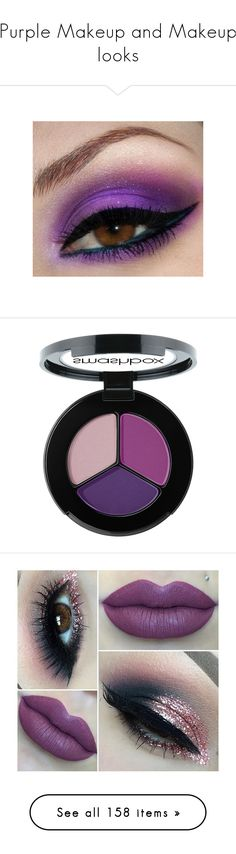 """""""Purple Makeup and Makeup looks"""" by melzy ❤ liked on Polyvore featuring eyeshadow, purple, LIPSTICK, makeup, cosmetics, eyes, beauty, eye makeup, filler and beauty products"""