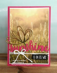 Card using Sunshine Sayings and Thinlits from Stampin Up by Jan McQueen. More…