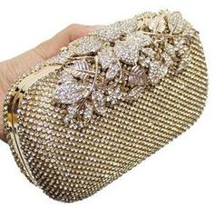 Flower Crystal Evening Bag Clutch Bags Leaf Metal Full Rhinestones Evening Bags Silver/Black/Gold Diamonds Evening Bag