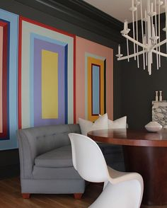 @angela_thepaintedhouse painted these canvases for her dining room. Reminds me of Frank Stella