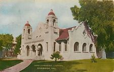 Riverside California~Carnegie Free Library~Mission Style~Demolished 1964~1908 PC