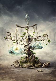 Balance of life Graphic Design Illustration by Wojciech Magierski
