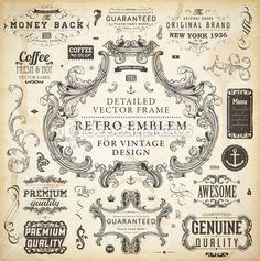 Các yếu tố thư pháp thiết kế, trang trí trang, nhãn retro và khung thiết lập cho thiết kế cổ điển Old texture grunge giấy - Cổ Illustration # 18042293