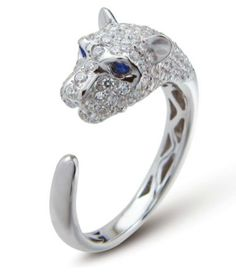 This Lion Ring is on sale today ONLY for 15% off. It is crafted in sterling silver with genuine blue sapphire eyes and cubic zirconia. (Web ID: 10615)