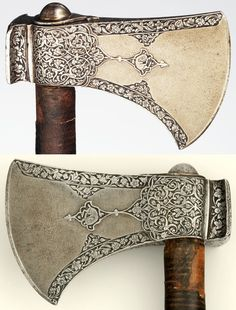 Persian axe, 17th century, steel, wood, leather, L. 21 in. (53.3 cm), Met Museum, Bequest of George C. Stone, 1935.