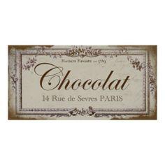 Vintage Paris Chocolate Sign Posters