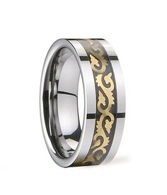 size 9 in Gift Box Faceted TUNGSTEN CARBIDE Unisex Ring Band with Golden Edges