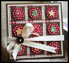 homespun feel to this Christmas grid with polka dot circles top by Christmas icons...