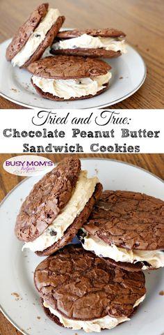 Tried and True: Chocolate Peanut Butter Sandwich Cookies - Busy Moms Helper Peanut Butter Sandwich Cookie Recipe, Peanut Butter Dessert Recipes, Easy No Bake Desserts, Cookie Recipes, Delicious Desserts, Snack Recipes, Party Desserts, Snacks, Easy Recipes