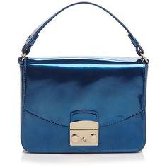 Furla Metropolis Small Patent Shoulder Bag (1 700 PLN) ❤ liked on Polyvore featuring bags, handbags, shoulder bags, blue, furla purses, patent leather shoulder bag, blue evening purse, shoulder handbags and special occasion handbags
