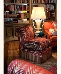 Neisha Crosland zebra + bullion fringe on a slipper chair Small Living Room Chairs, Formal Living Rooms, Living Spaces, Scandinavian Dining Chairs, Slipper Chairs, Cushion Fabric, Sofa Chair, Club Chairs, Soft Furnishings