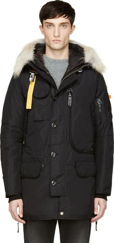 Parajumpers: Black Hooded Kodiak Coat