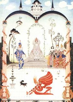 Grimm's Colour Plate 8 - Rumpelstiltskin - Grimm, Jacob and Wilhelm. Hansel and Gretel and Other Stories by the Brothers Grimm. Kay Nielsen, illustrator. London: Hodder and Stoughton,...