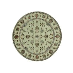 Wool and Hand-knotted Round Rajasthan Rug