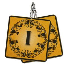 Elegant Letter I Initial Fancy Square Gold Black Wood MDF 4' x 4' Mini Signs Gift Tags -- Details can be found by clicking on the image.