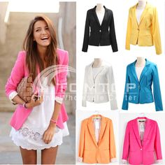 White with pop of color blazer: $16.30 Womens Tunic Blazer Foldable Sleeve Jacket Casual Suit Coat Slim 6Colors 4Size | eBay