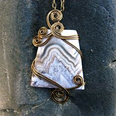 Beige and Gray Crazy Lace Agate Wire Wrapped Pendant Necklace  by CareMoreCreations.com #handmade #jewelry #CrazyLaceAgate