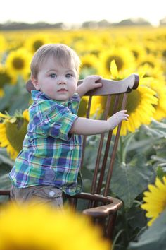 this reminds me of my nephew nathan :) :) Sunflowers; baby in sunflower field; sunflowers at sunset