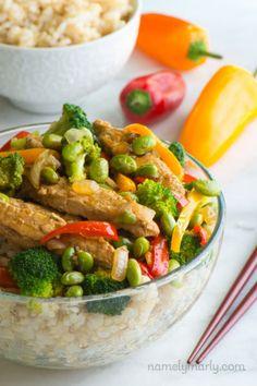 Vegan Teriyaki Chicken and Edamame Rice Bowls