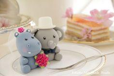 LOVE ANGELS hippo and elephant Wedding Cake Topper. $130.00, via Etsy.