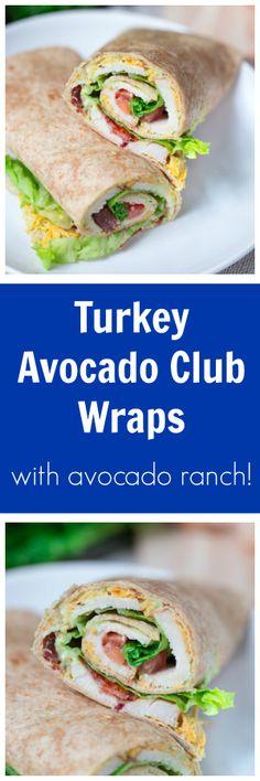 Turkey Avocado Club Wraps Healthy Turkey Recipes, Avocado Recipes, Real Food Recipes, Delicious Dinner Recipes, Lunch Recipes, Wrap Recipes, Wrap Sandwiches, Clean Eating Recipes, Family Meals