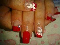 Red Nail Designs, Nail Polish Designs, Red Nails, Hair And Nails, Nail Art Galleries, Mani Pedi, Beauty Nails, Summer Nails, Pretty Nails