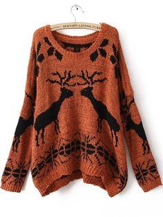 {orange + black deer sweater} adorable!
