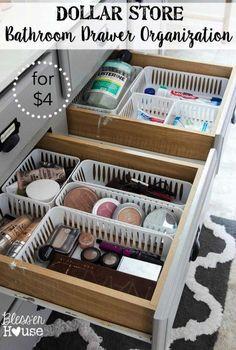 Dollar Store Bathroom Drawer Organization | Bless'er House