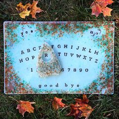 This is one of my fused glass Ouija Boards that will be available for sale on Etsy soon! Artist credit: Christa Jo Glass