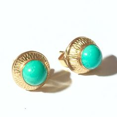 Vtg Etched 14K Yellow Gold Turquoise Stud Earrings 585 FB Franz Breuning Germany #FranzBreuning