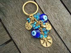Blue Evil Eye Beaded Keychain