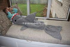 Homemade by Giggles: Mermaid and Shark Blankets. Crochet Shark Blanket, Shark Tail Blanket, Crochet Baby, Knit Crochet, Shark Fin, Kids Patterns, Crocodile, Dinosaur Stuffed Animal, Mermaid