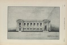 Central Library - Toronto Public Library - Carnegie library building - College and St George - Front Elevation - architectural drawing of exterior.