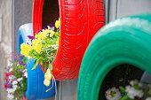 tires idea brillante para utilizar como ecológicamente planters