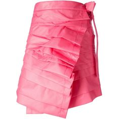Comme Des Garçons origami flounce skirt (1.510 RON) ❤ liked on Polyvore featuring skirts, ruffle skirt, pink a line skirt, wrap skirts, a-line skirts and pink frilly skirt