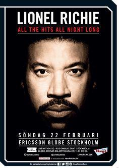 LIONEL RICHIE | 22 feb | Stockholm, Ericsson Globe | #LionelRichie #artwork