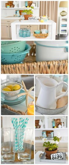 DIY White Wood Kitchen Island + Eclectic Vintage Summer Decorating in Aqua & Yellow | Fox Hollow Cottage