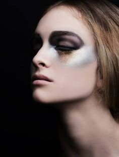 creative makeup black gold silver