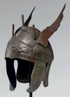 Greek Bronze winged helmet, circa 4th century BCE