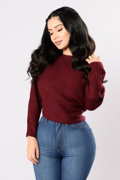 Off Balance Sweater - Burgundy