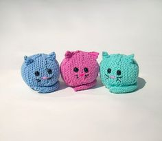 Fat cat trio knit handmade