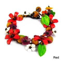 Aeravida Handmade Organic Leather Daisy Garland Bracelet (Thailand) (Red) Romantic Christmas Gifts, Christmas Gifts For Her, Leather Flowers, Flower Bracelet, Gifts For Wedding Party, Large Flowers, Leather Design, Cultured Pearls, Leather Jewelry