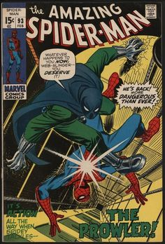 AMAZING SPIDER-MAN #93 VF GLOSSY COVER WHITE PAGES. VS THE PROWLER