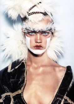 #Russian #model Natalia Vodianova wears John Galliano in 'Chic Savages' by Steven Klein for i-D Magazine #April2002